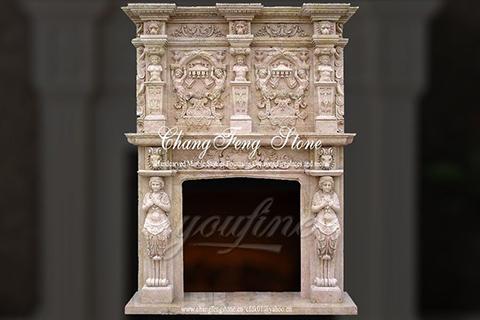 Роскошной декоративной бежевый каминный портал из  мрамора