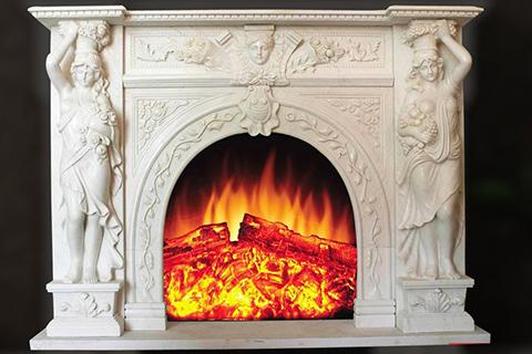 Декоративный роскошный каминный портал из бежевого мрамора в Викторианском стиле