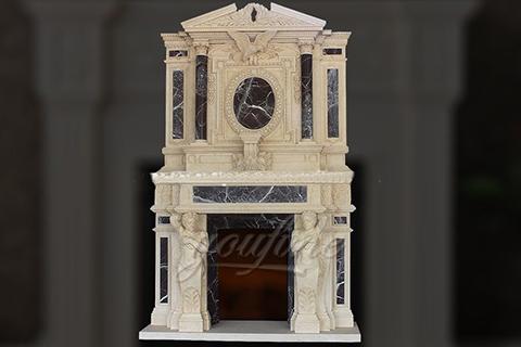 Роскошный декоративный бежевый мраморный портал для камина