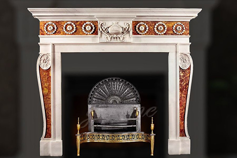 Декоративный многоцветный мраморный каминный портал в стиле Джорджа