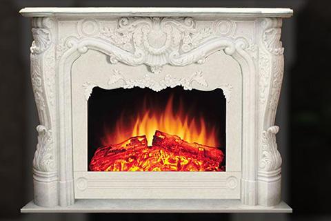 Комнатный мраморный каминный портал ручной резной в французском стиле