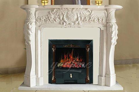 Декоративный белый мраморный каминный портал в французском стиле