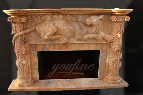 Крытый декоративный бежевый мраморный каминный портал с животными