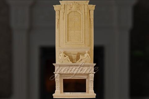 Большой ручной резной бежевый мраморный каминный портал